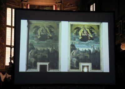 Il Dott. Vincenzo Gheroldi, storico dell'arte, Soprintendente per le Belle Arti e il Paesaggio di Brescia e Bergamo, illustra la tecnica pittorica.