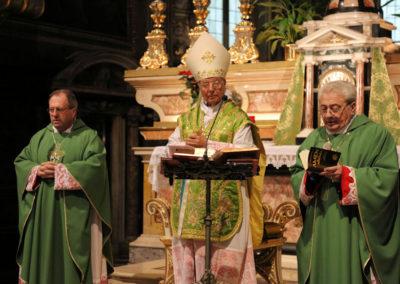 Mons. Marcel concelebra con Mons. M. Piccinelli e Mons. P.A. Bodini
