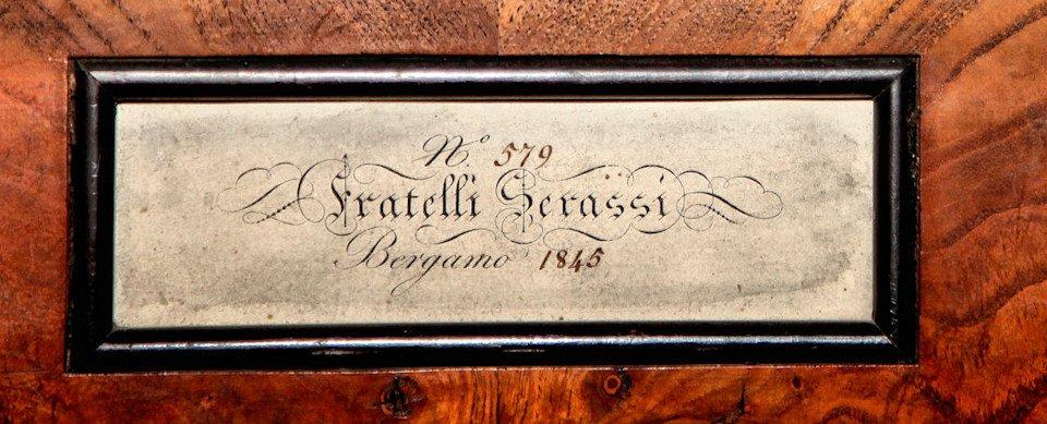 Cartiglio originale dei Fratelli Serassi